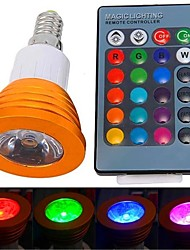 3W E14 LED Spotlight 1 High Power LED 180 lm RGB Remote-Controlled AC 85-265 V