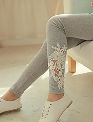 Women's Black/Gray Skinny Hollow Flower Lace Leggings