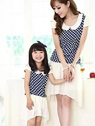Family's Fashion Leisure Mother Daughter Lovely Wave Point Chiffon Dress
