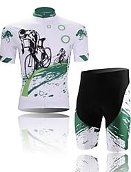 xintown мужчин наслаждаться поездкой быстрый сухой поглощения влаги короткий рукав велосипедные костюм белый + зеленый