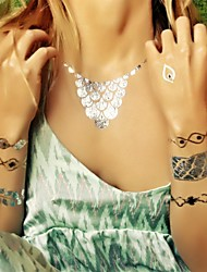 1Pcs Jewelry Inspired Round Big Necklace Metallic Gold and Silver Tattoo Stickers Temporary Tattoos