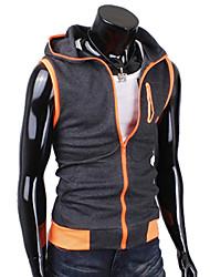 мужская балахон контраст цвета без рукавов пальто