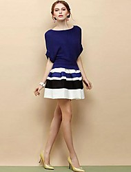 Women's New Fashion Batwing Sleeve Loose Stripe Knitwear Suit(skirt&shirt)