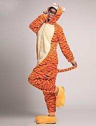 Kigurumi Pijamas Tiger Malha Collant/Pijama Macacão Festival/Celebração Pijamas Animal Amarelo Miscelânea Velocino de Coral Kigurumi Para