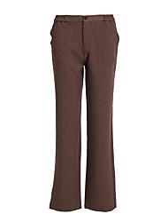 brun clair à glissière pantalon des femmes