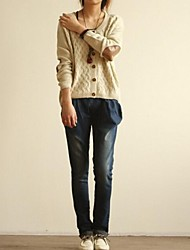 Women's Beige/Green Cardigan , Casual Long Sleeve