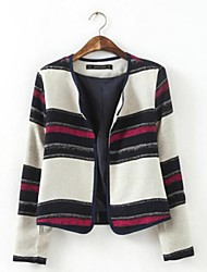 Women's Round Collar Stripe No buttons Slim Coat