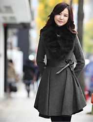 Women's Fur Collar Slim Waist Wool Pleated Midi Coat