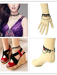 Vampire Girl Red Artificial Stone Gothic Lolita Accessories Set(Bracelet/Necklace/Bangle)