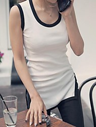 Women's Sexy Casual Two-tone High Low Side Split Sleeveless Bodycon T-shirt/Tank/Tops