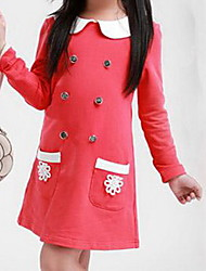Girl's Red Button Full-sleeve Baby Princess Kids Clothing School Uniform Spring and Autumn Dresses