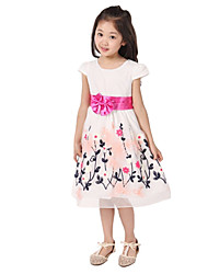 Girl's Orange / Pink Dress,Floral Cotton Summer