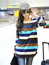 contraste de cor t-shirt de manga comprida feminina