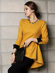JingSha Women's Autumn Winter Contrast Color Thin Waisted Swallow Tail Long Sleeve Dress