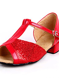 PINCHEN Girls Low Heel Dance Shoes With Paillette