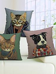 conjunto de 3 algodón fresco gato y perro / ropa cubierta decorativa almohada