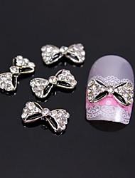 10pcs Black Bow Tie with Rhinestone 3D Alloy Nail Art Decoration