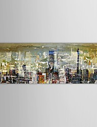 Hand Painted Oil Painting Landscape Abstract City Scenery with Stretched Frame