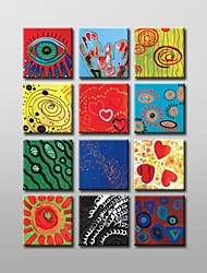 Hand Painted Modern Abstract  Oil Painting with Stretched Frame Set of 12