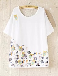 ZhuLanChao® Women's Round Collar The Owl Embroidery Printing Loose T-shirts