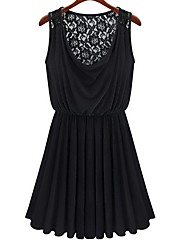 Blues Women's Round Neck Backless Lace Dress