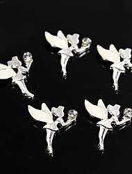 10pcs White Alloy Rhinestone Fairy Angel 3D Alloy Nail Art Decoration