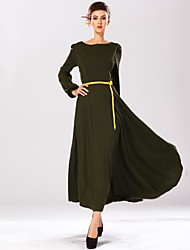 Women's Maxi / Vintage / Bodycon / Casual / Work Solid Swing Dress , Round Neck Maxi Linen / Polyester / Knitwear