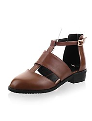Women's Spring Summer Fall Platform Leatherette Dress Party & Evening Chunky Heel Lace-up Others Black Brown