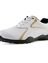 PGM Men's Microfiber Leather+Rubber Soft Sole Gold Waterproof Breathable Golf Shoes