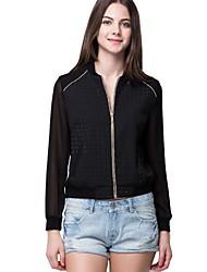 Oxygene Monde® Women's Embossed Fabric with Long Chiffon Sleeve Baseball Jacket