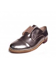 Women's Shoes Cap-toe Low Heel Leather Loafers with Split Joint Shoes