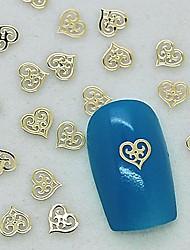 200pcs design único coração oco metal dourado arte fatia decoração de unhas