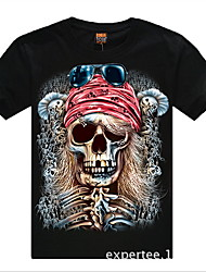 Roman Men's Round Neck Skull Pattern Cotton T-Shirt