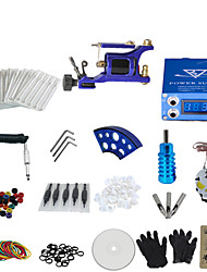 1 Gun Complete No Ink Tattoo Kit with Blue Motor Machine and Lcd Screen Blue Power Supply