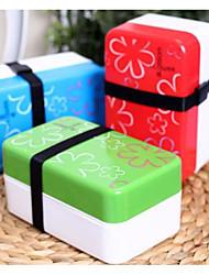Small Square Box Classic Double Layer Japanese Sushi Box (Random Color)