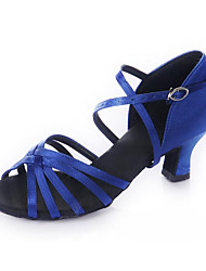 Non Customizable Women's Dance Shoes Latin Satin Chunky Heel Blue