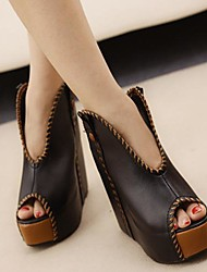 Women's Shoes Patent Leather Spring / Summer / Fall Wedges / Peep Toe Office & Career / Dress / Party & Evening Wedge Heel Black / Gray