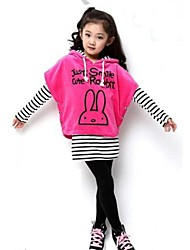 Girl's Fashion Leisure Lovely Batwing Sleeved Blouse Three Piece Clothing Set
