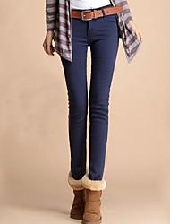 Frauen dicke Fleece gefüttert Jeansbleistift-Hosen