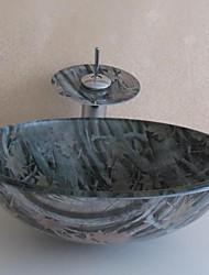 banheiro conjunto pia, vaso de vidro temperado pia com torneira em cascata, anel de montagem e de drenagem de água