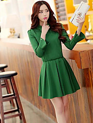 Women's Black/Green/Red Dress , Bodycon/Cute Long Sleeve