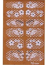yemannvyou®2x14pcs verleihen 3D Diamant transparent weißen Spitzen Nagelkunst ultradünnen Aufklebern tz034