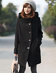 Women's Black/Red Trench Coat , Casual Long Sleeve Wool/Wool Blends