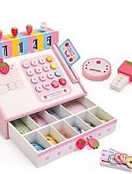 Fraise 1set caisse enregistreuse simulation en bois de carte de crédit de supermarché prétendre jouets d'