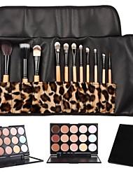 12pcs Goat/Pony/Horse hair Makeup Brushes set concealer/powder/blush brush shadow/brow/eyeliner/eyelash/lip brush+15 color concealer Leopard Package