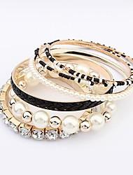 Legering Dames Ronde Armbanden Armbanden Imitatie Parel/Bergkristal