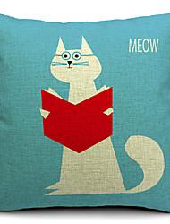 Country Cute Cat Cotton/Linen Decorative Pillow Cover