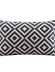 Cotton/Linen Pillow Cover , Plaid Modern/Contemporary