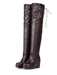 Damenschuhe lümmeln Keilabsatz über das Knie Stiefel mit Spitzen-up mehr Farben erhältlich