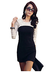Round Collar Long Sleeve Fitted Dress